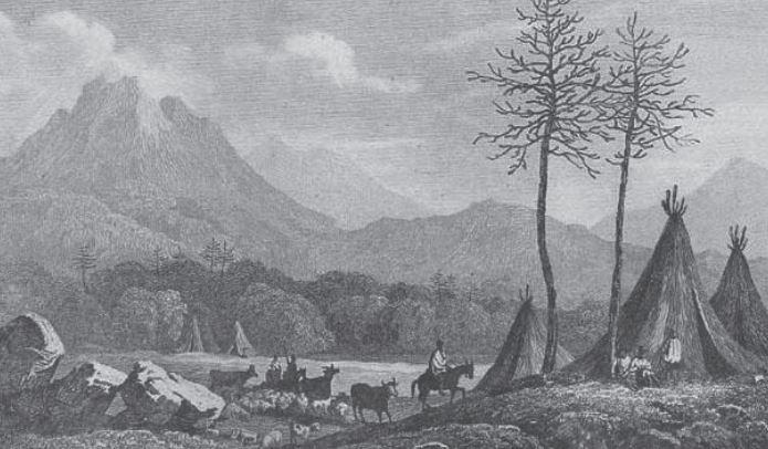 Caserío pewenche de mediados del siglo XIX (Fuente: www.memoriachilena.cl)