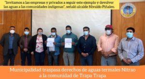 MUNICIPALIDAD DE ALTO BIOBÍO CEDE A TRAPATRAPA LOS DERECHOS DE AGUAS DE LAS TERMAS DE NITRAO