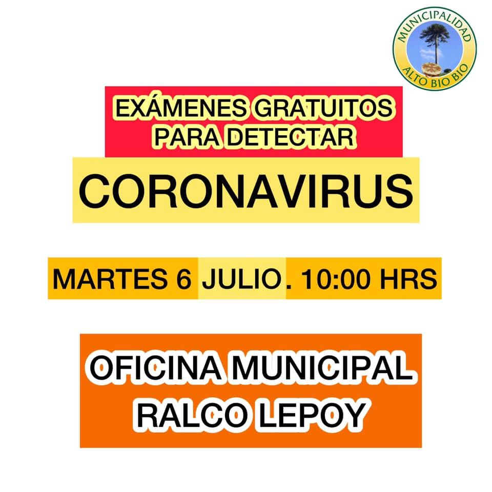 ESTE MARTES SE REALIZAN EXÁMENES GRATUITOS PARA DETECTAR CORONAVIRUS EN RALCO LEPOY